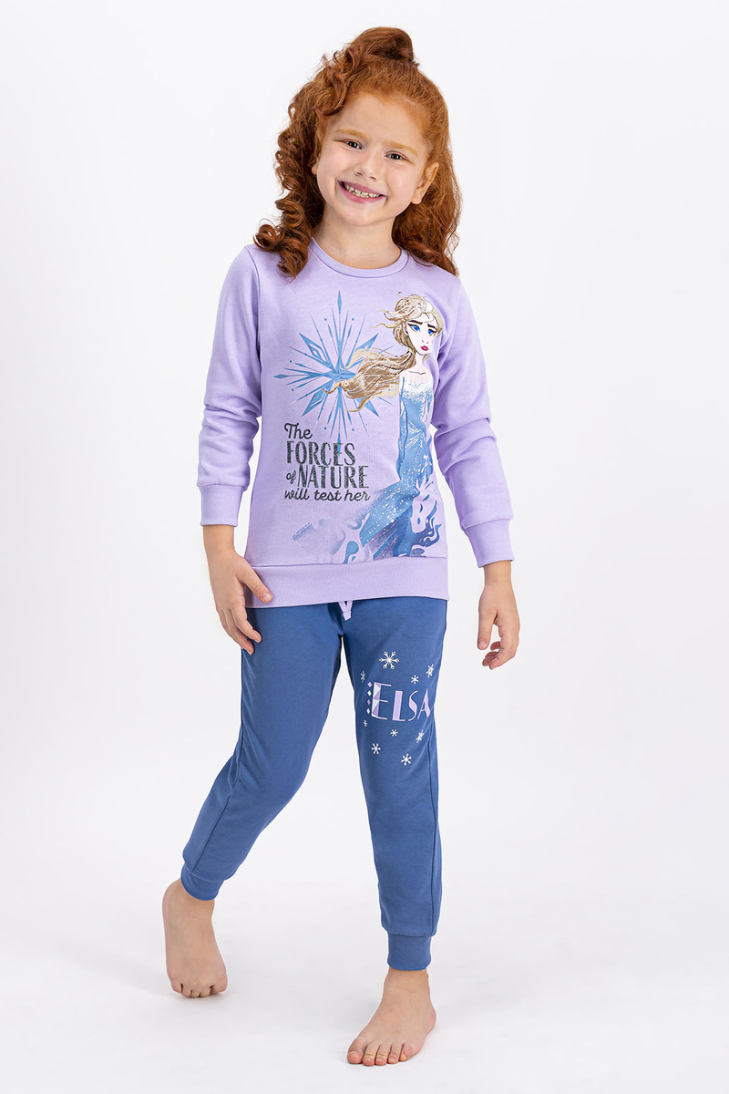Karlar Ülkesi - Frozen - Karlar Ülkesi Frozen Lisanslı Lila Kız Çocuk Eşofman Takımı (1)