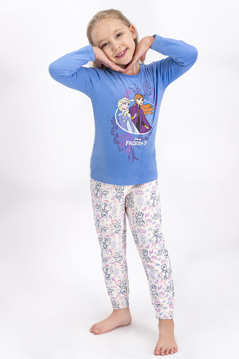 Karlar Ülkesi - Frozen - Karlar Ülkesi Frozen Lisanslı İndigo Kız Çocuk Pijama Takımı