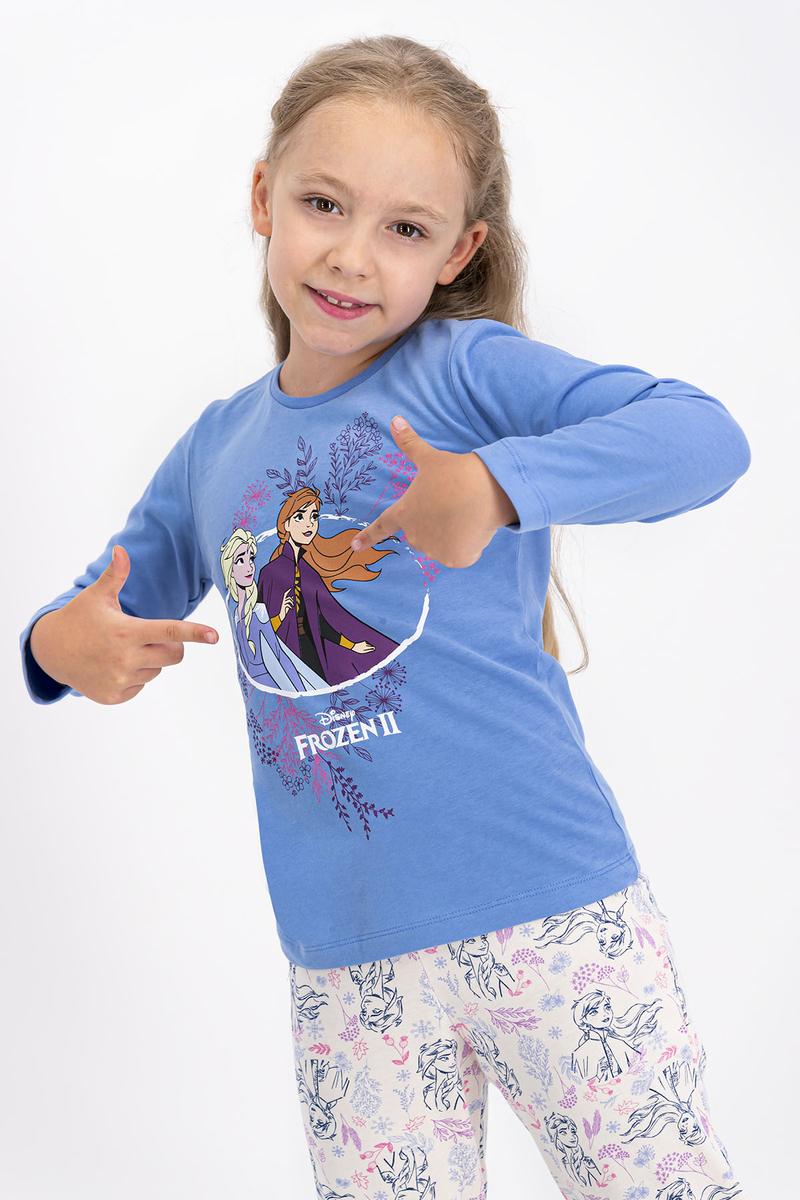 Karlar Ülkesi - Frozen - Karlar Ülkesi Frozen Lisanslı İndigo Kız Çocuk Pijama Takımı (1)