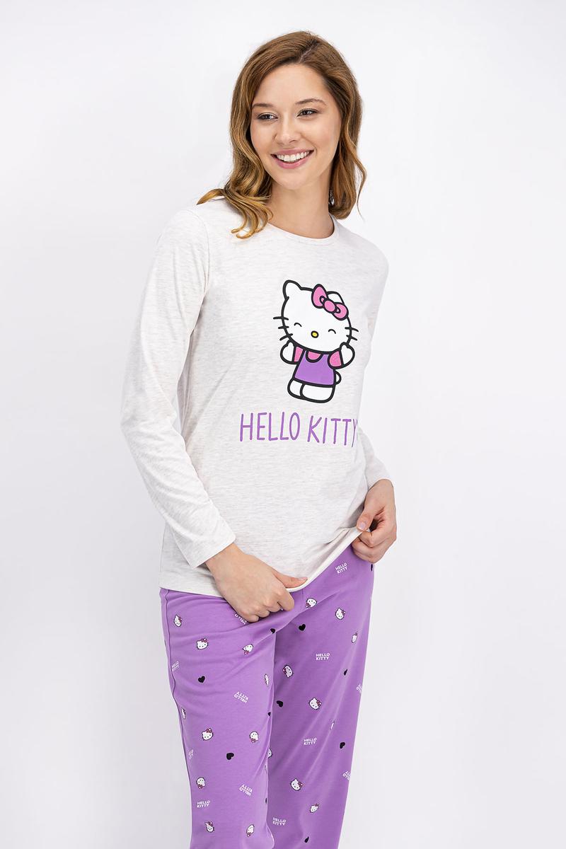 Hello Kitty - Hello Kitty Lisanslı Kremmelanj Kadın Pijama Takımı