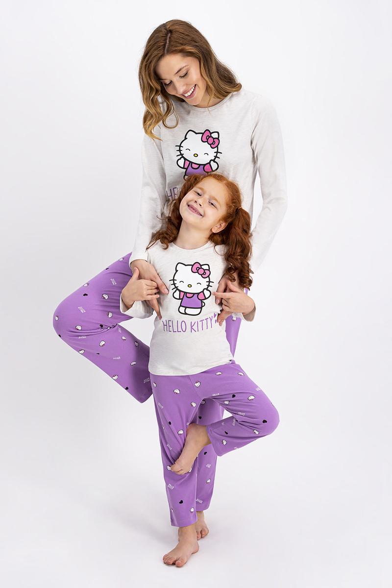 Hello Kitty - Hello Kitty Lisanslı Kremmelanj Kadın Pijama Takımı (1)