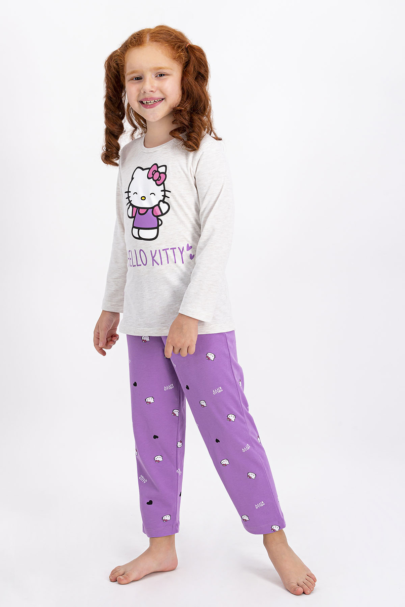 Hello Kitty - Hello Kitty Lisanslı Kremmelanj Kız Çocuk Pijama Takımı