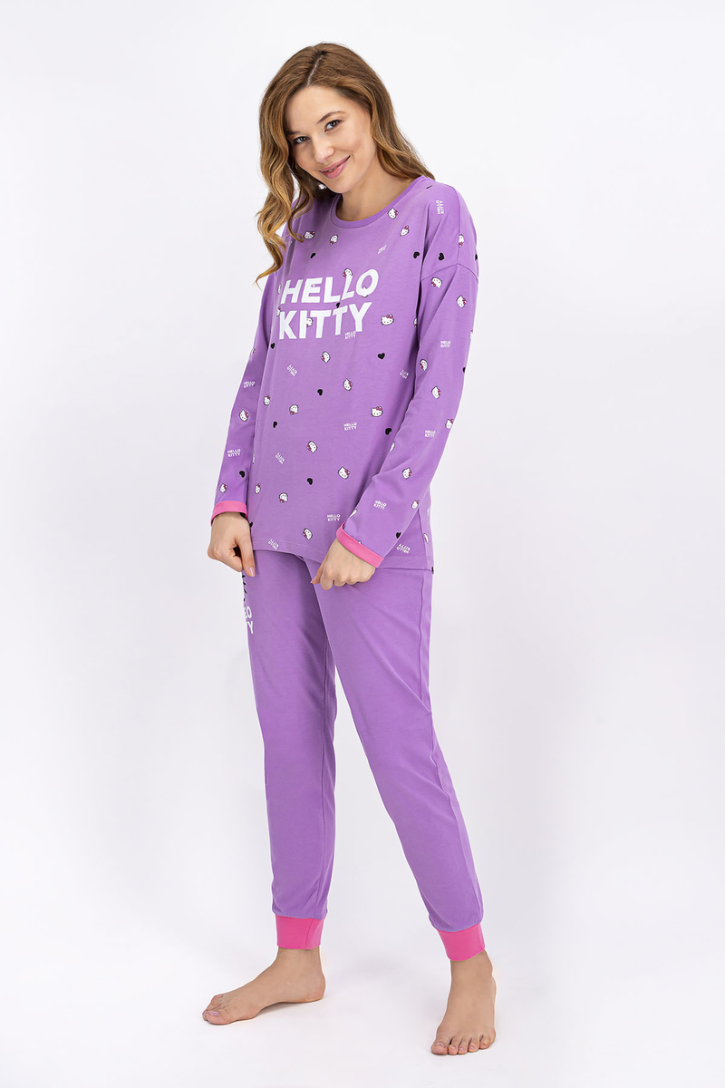 Hello Kitty - Hello Kitty Lisanslı Lila Kadın Pijama Takımı