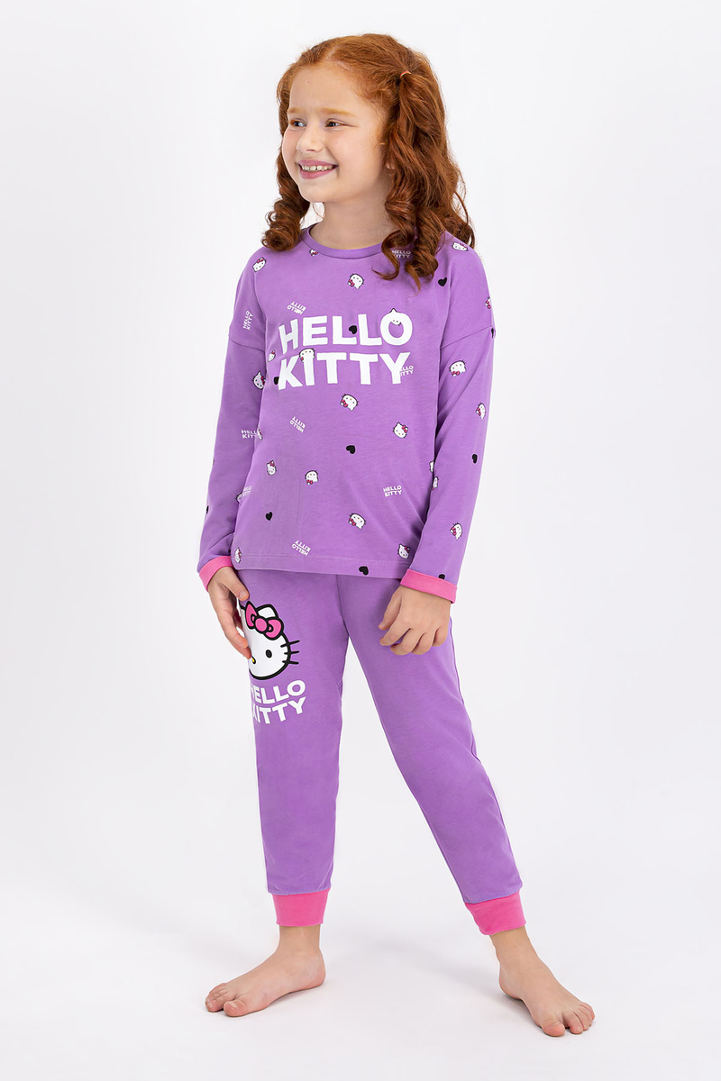 Hello Kitty - Hello Kitty Lisanslı Lila Kız Çocuk Pijama Takımı