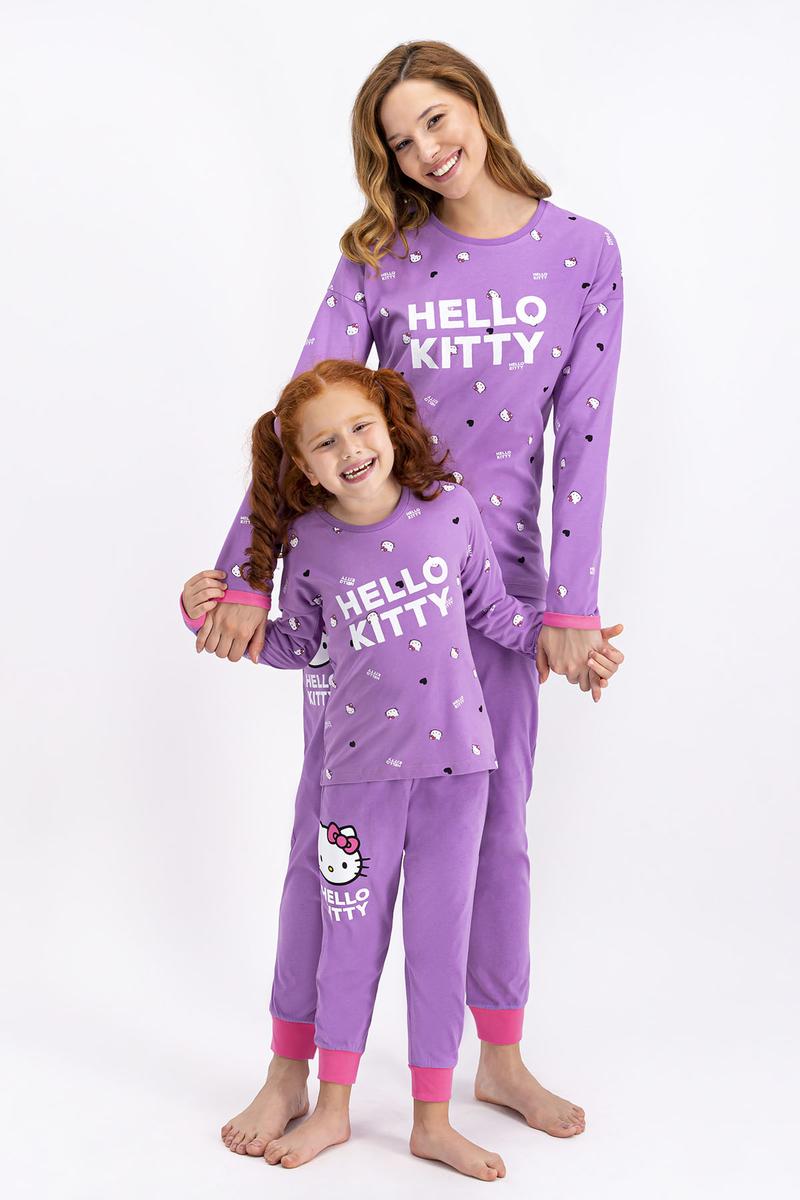 Hello Kitty - Hello Kitty Lisanslı Lila Kız Çocuk Pijama Takımı (1)