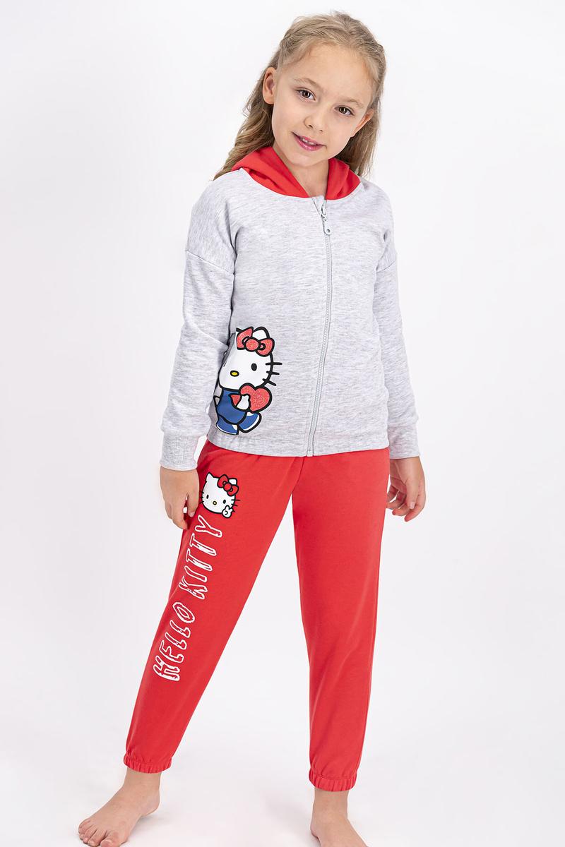 Hello Kitty - Hello Kitty Lisanslı Karmelanj Kız Çocuk Kapüşonlu Eşofman Takımı