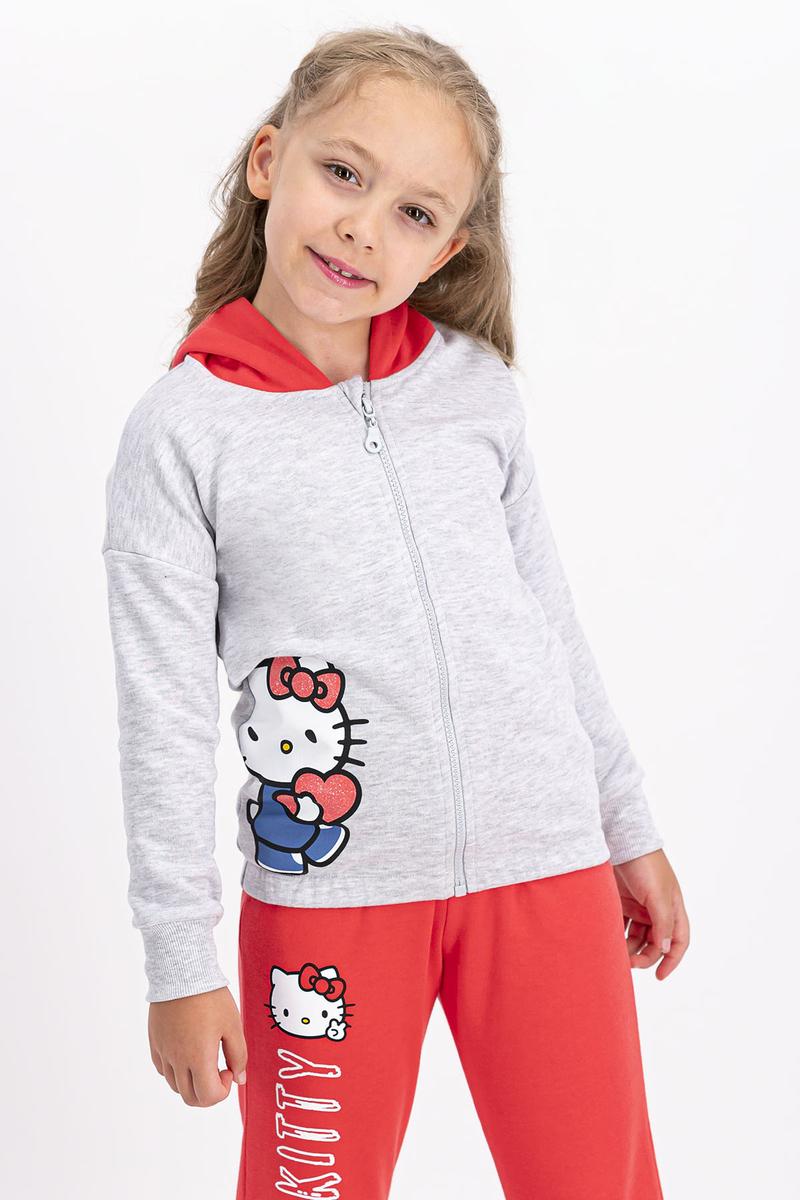Hello Kitty - Hello Kitty Lisanslı Karmelanj Kız Çocuk Kapüşonlu Eşofman Takımı (1)