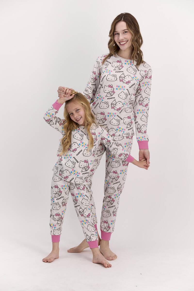 Hello Kitty - Hello Kitty Lisanslı Bejmelanj Kadın Pijama Takımı (1)
