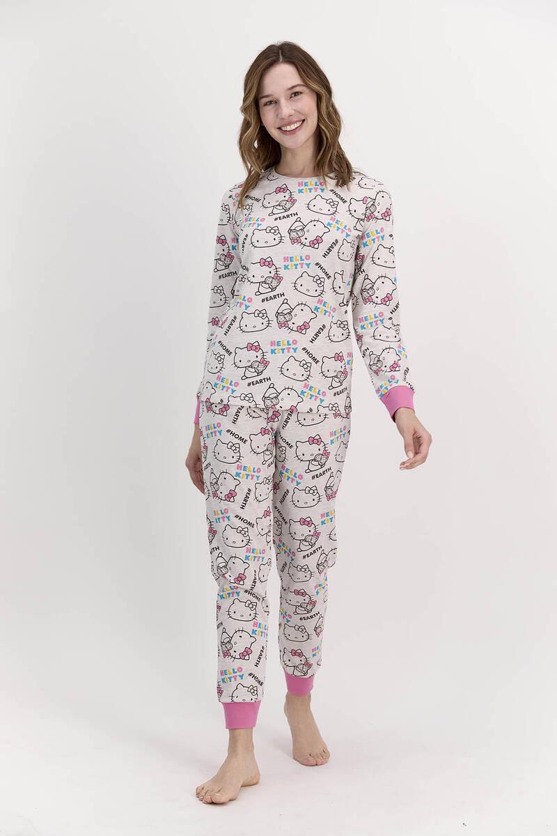Hello Kitty - Hello Kitty Lisanslı Bejmelanj Kadın Pijama Takımı