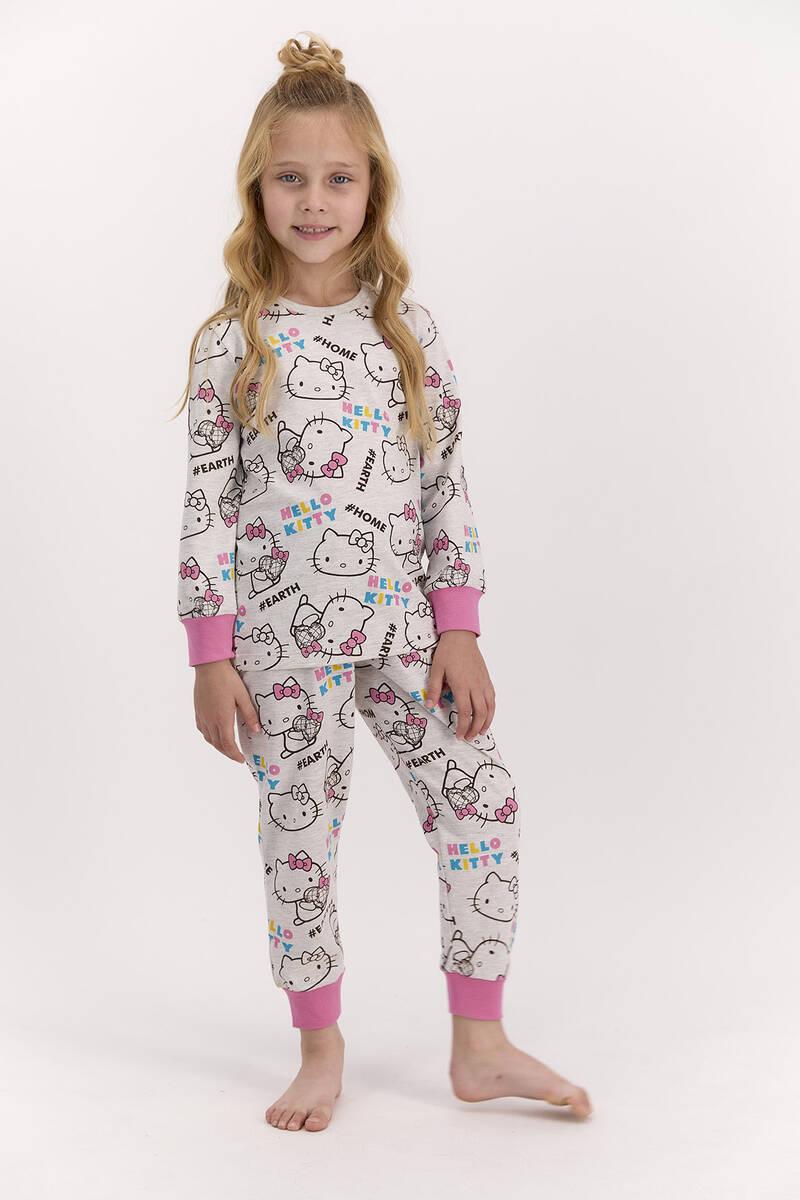 Hello Kitty - Hello Kitty Lisanslı Bejmelanj Kız Çocuk Pijama Takımı