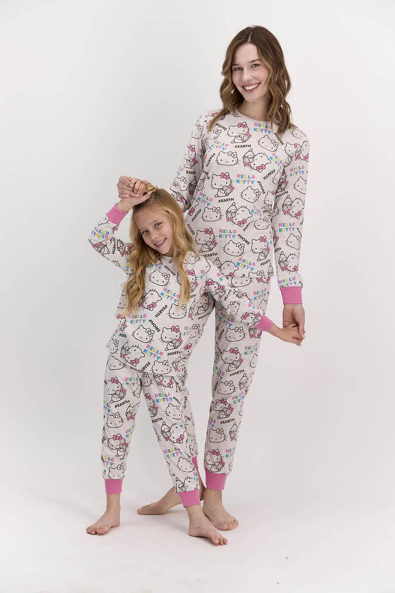 Hello Kitty - Hello Kitty Lisanslı Bejmelanj Kız Çocuk Pijama Takımı (1)