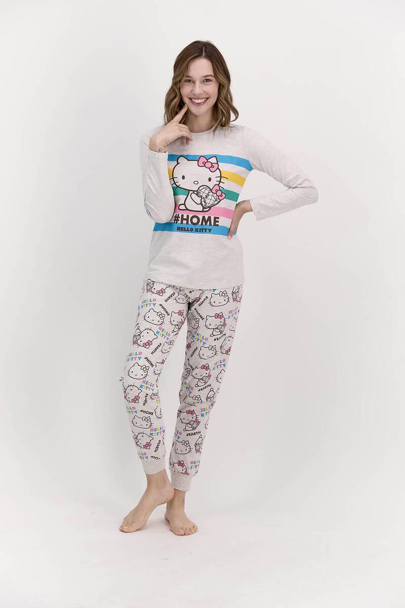 Hello Kitty - Hello Kitty Lisanslı Home Bejmelanj Kadın Pijama Takımı