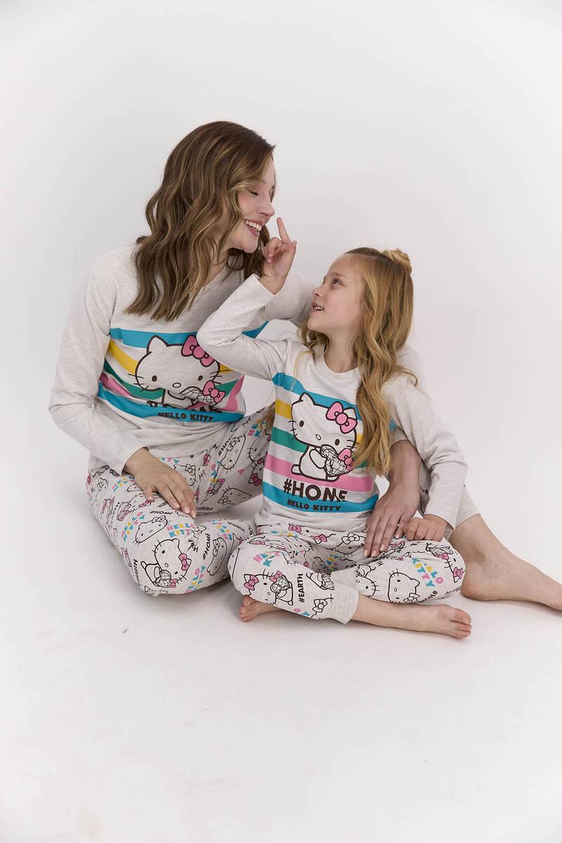 Hello Kitty - Hello Kitty Lisanslı Home Bejmelanj Kadın Pijama Takımı (1)
