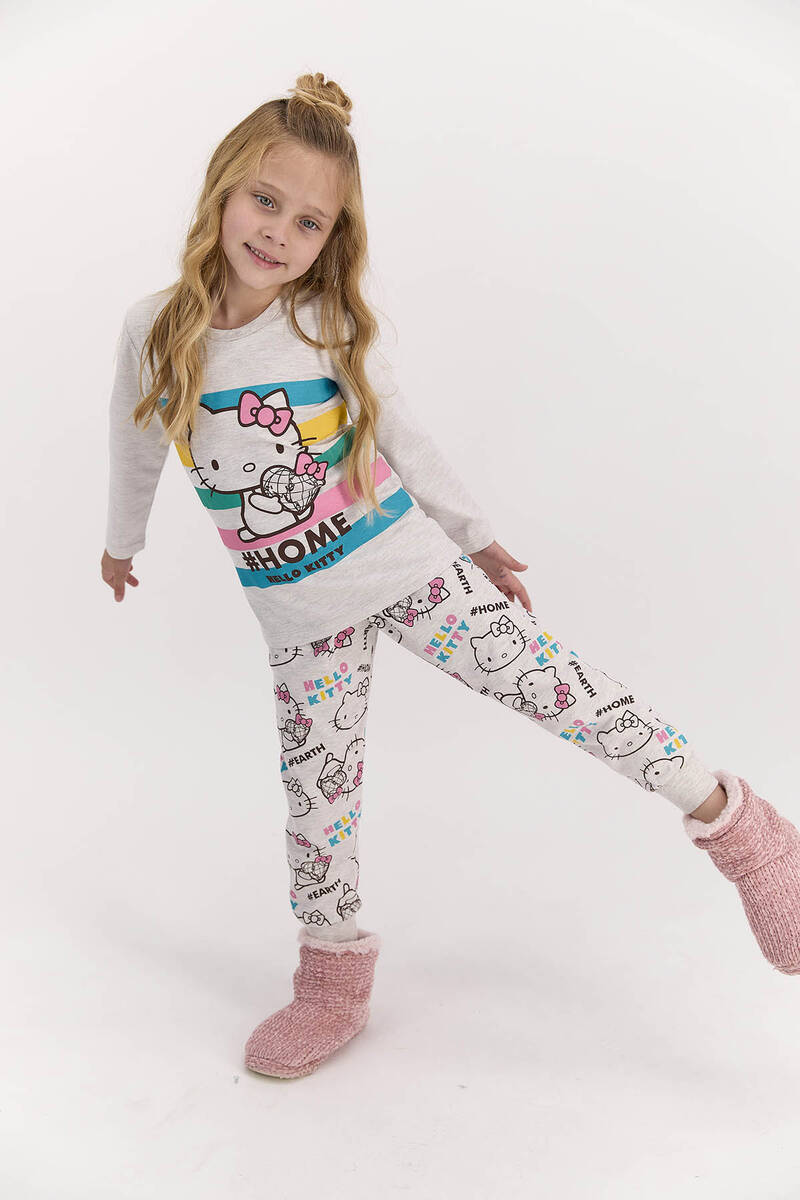 Hello Kitty - Hello Kitty Lisanslı Home Bejmelanj Kız Çocuk Pijama Takımı
