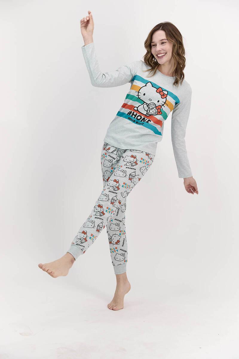 Hello Kitty - Hello Kitty Lisanslı Home Yeşilmelanj Kadın Pijama Takımı