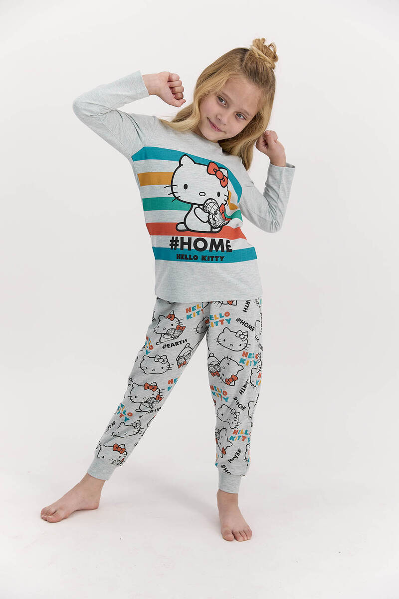 Hello Kitty - Hello Kitty Lisanslı Home Yeşilmelanj Kız Çocuk Pijama Takımı
