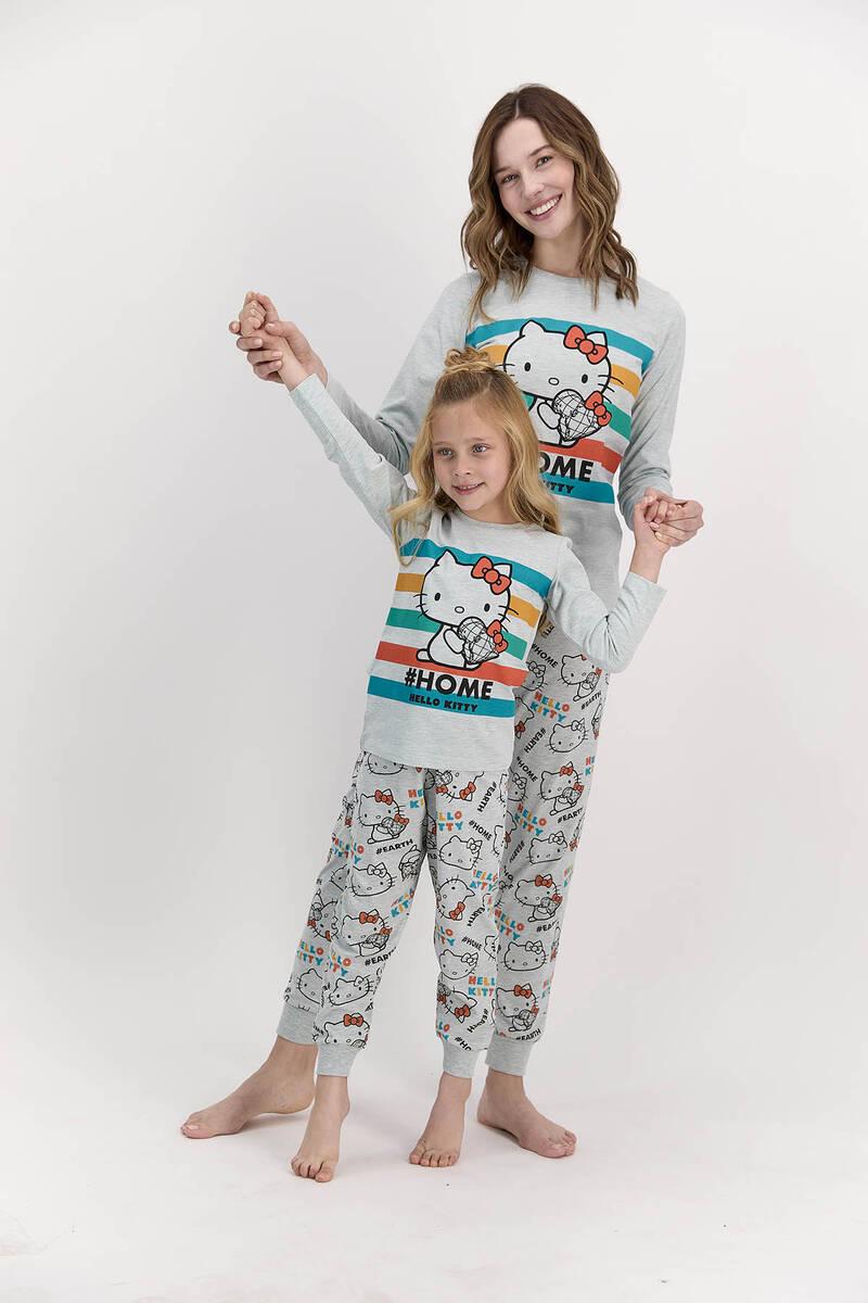 Hello Kitty - Hello Kitty Lisanslı Home Yeşilmelanj Kız Çocuk Pijama Takımı (1)