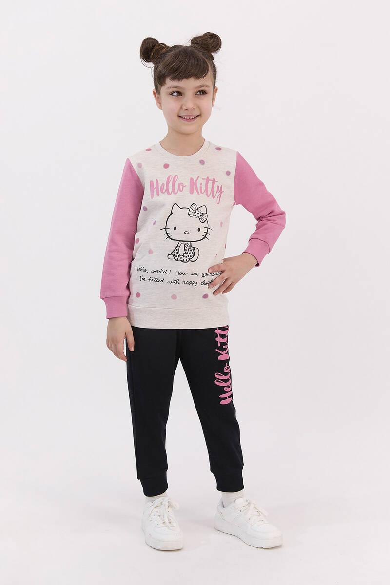 Hello Kitty - Hello Kitty Lisanslı Kremmelanj Kız Çocuk Eşofman Takımı