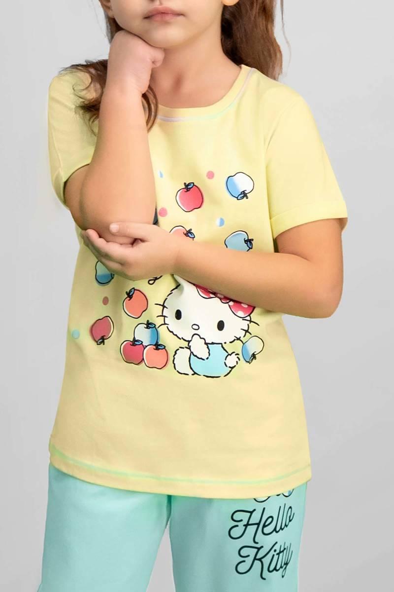 Hello Kitty - Hello Kitty Lisanslı Limon Sarı Kız Çocuk Pijama Takımı (1)