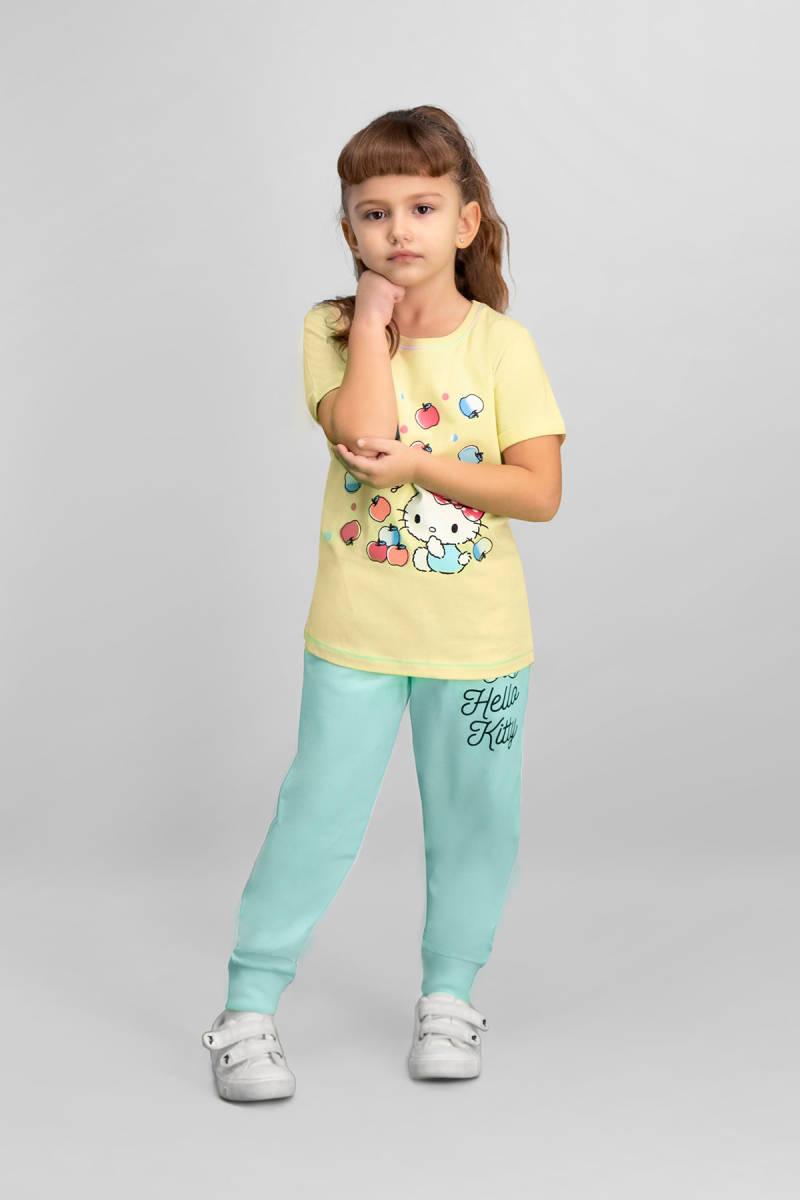 Hello Kitty - Hello Kitty Lisanslı Limon Sarı Kız Çocuk Pijama Takımı