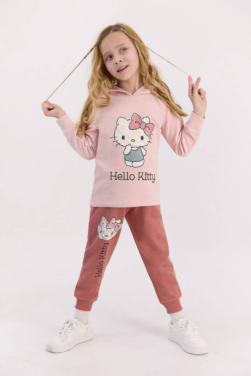 Hello Kitty - Hello Kitty Lisanslı Pudra Kız Çocuk Kapşonlu Eşofman Takımı (1)