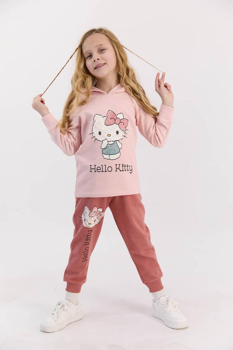 Hello Kitty - Hello Kitty Lisanslı Pudra Kız Çocuk Kapşonlu Eşofman Takımı