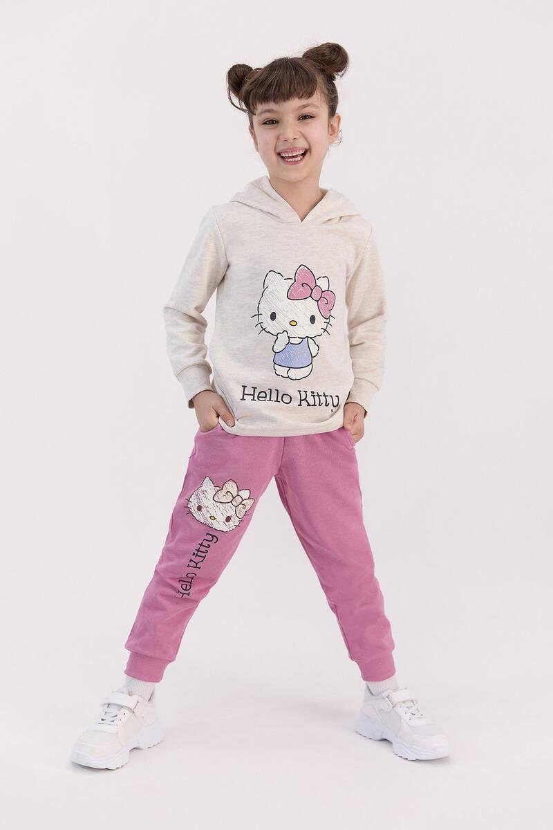 Hello Kitty - Hello Kitty Lisanslı Şeker Pembe Kız Çocuk Kapşonlu Eşofman Takımı