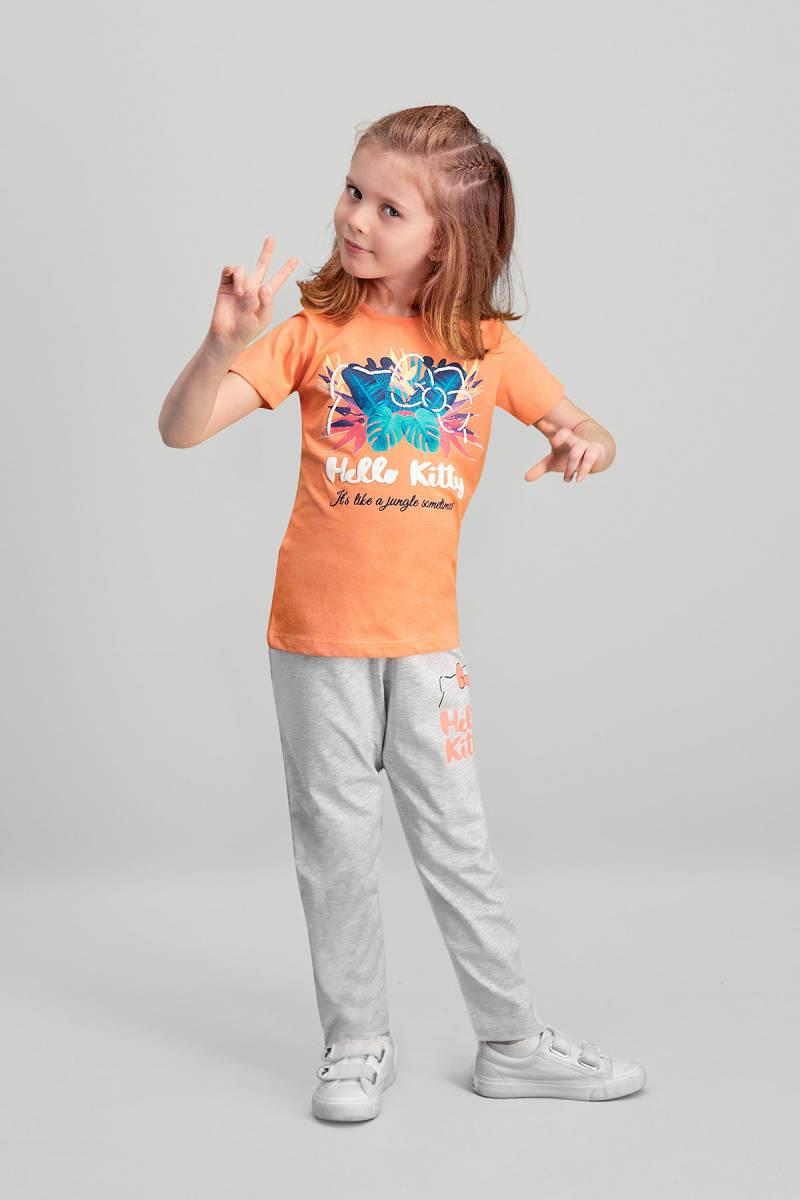 Hello Kitty - Hello Kitty Lisanslı Yavruağzı Kız Çocuk Pijama Takımı