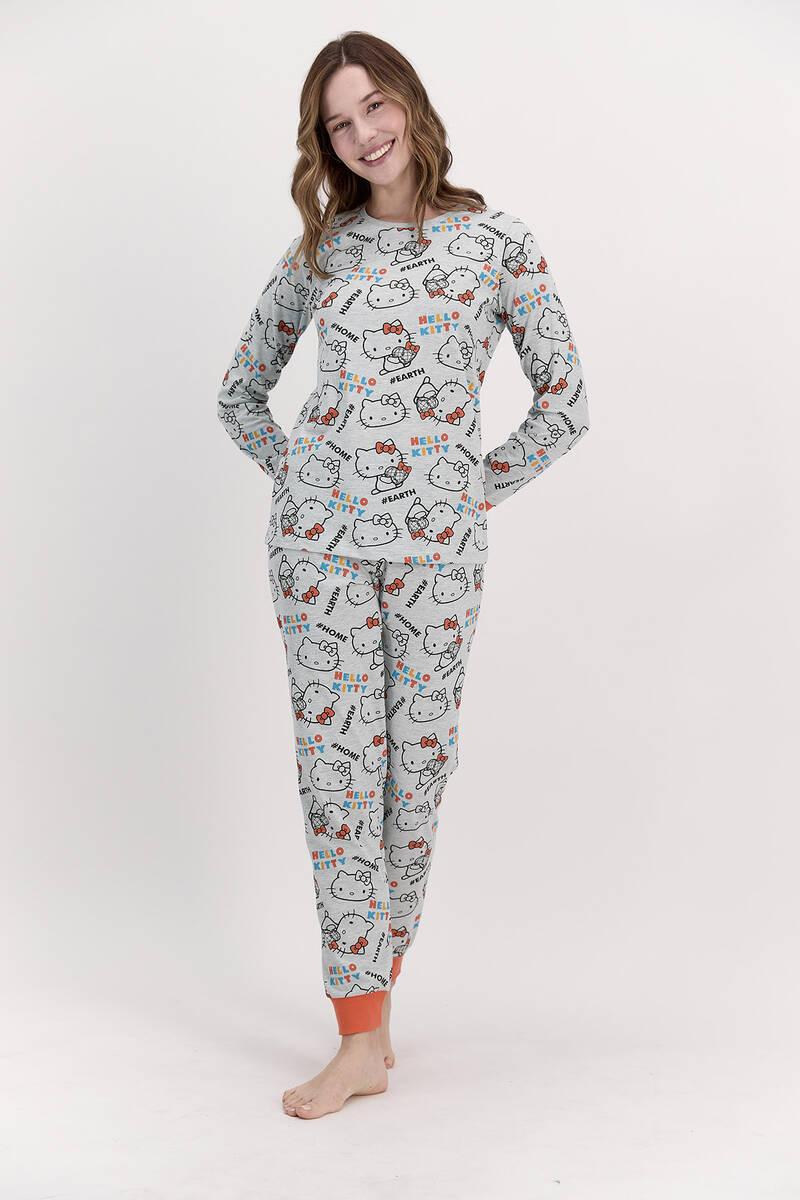 Hello Kitty - Hello Kitty Lisanslı Yeşilmelanj Kadın Pijama Takımı