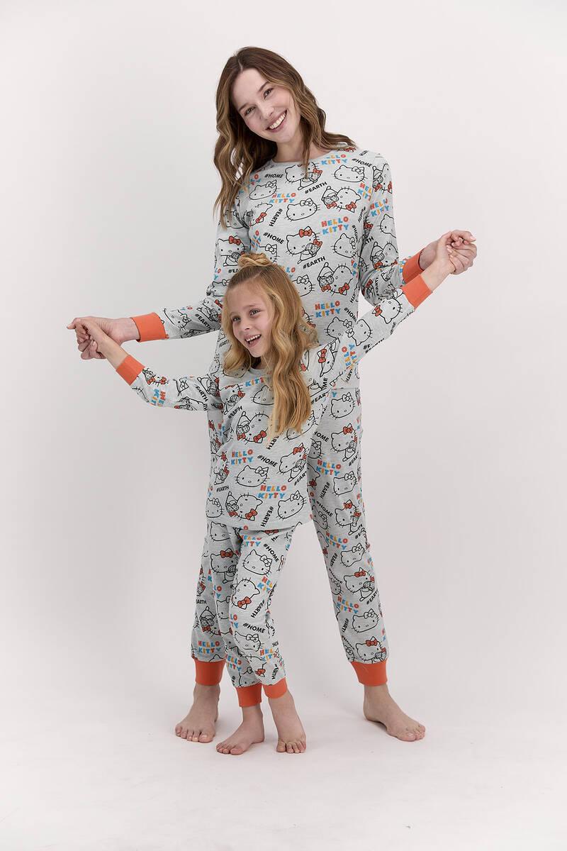 Hello Kitty - Hello Kitty Lisanslı Yeşilmelanj Kadın Pijama Takımı (1)
