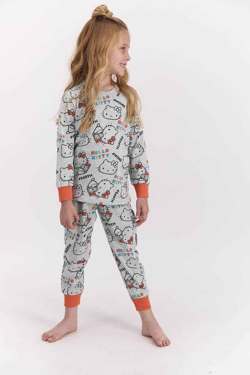 Hello Kitty - Hello Kitty Lisanslı Yeşilmelanj Kız Çocuk Pijama Takımı