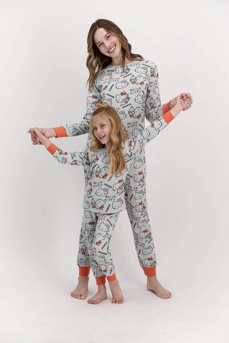 Hello Kitty - Hello Kitty Lisanslı Yeşilmelanj Kız Çocuk Pijama Takımı (1)