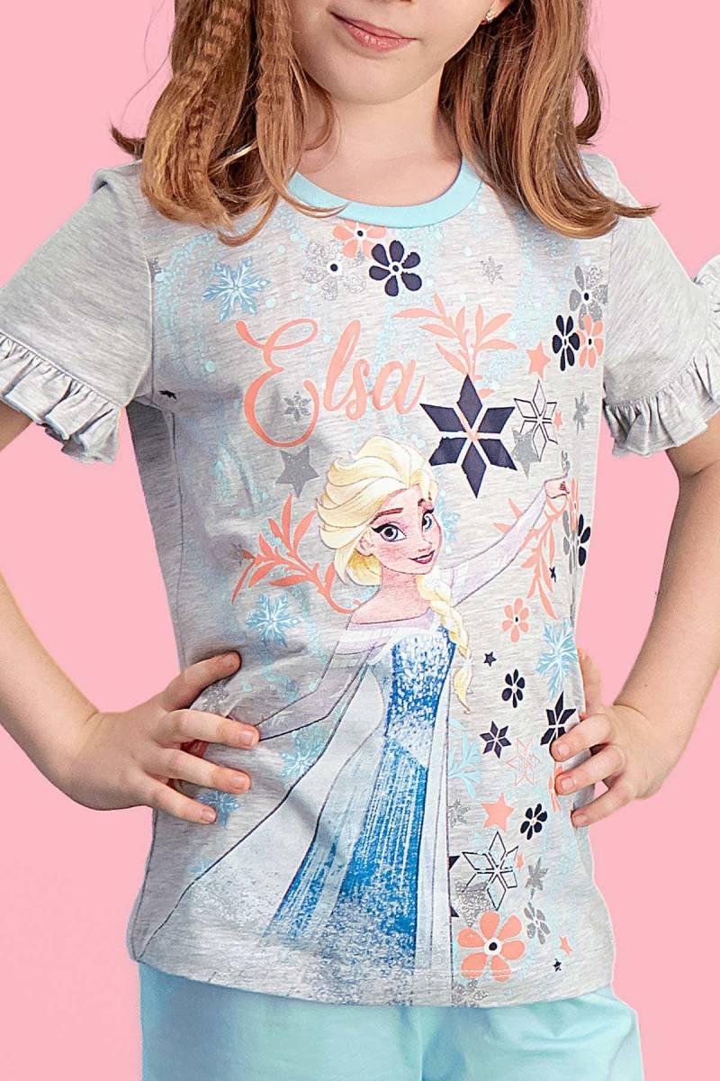 Karlar Ülkesi - Frozen - Karlar Ülkesi Elsa - Frozen Lisanslı Açık Gri Kız Çocuk Kapri Takım (1)