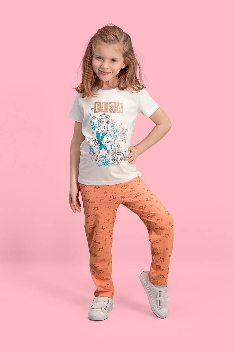 Karlar Ülkesi - Frozen - Karlar Ülkesi Elsa - Frozen Lisanslı Krem Kız Çocuk Pijama Takımı