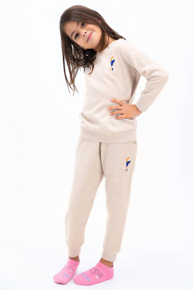 U.S. Polo Assn - U.S. Polo Assn Kız Çocuk Basic Karmelanj Eşofman Takımı (1)