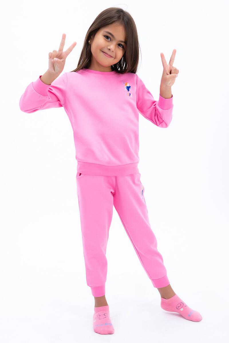 U.S. Polo Assn - U.S. Polo Assn Kız Çocuk Basic Pembe Eşofman Takımı (1)