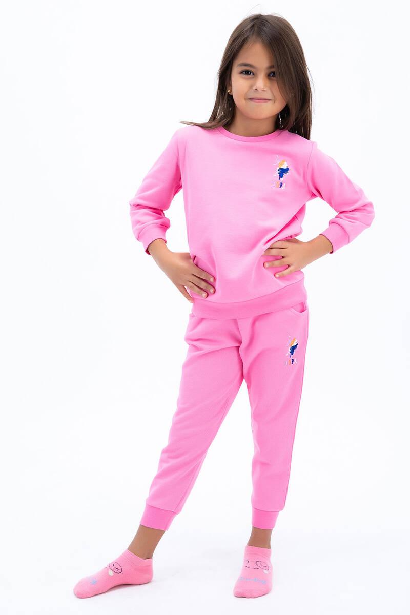 U.S. Polo Assn - U.S. Polo Assn Kız Çocuk Basic Pembe Eşofman Takımı