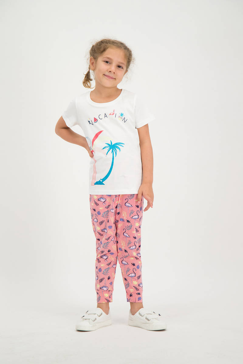 RolyPoly - RolyPoly Kız Çocuk Pijama Takımı Krem