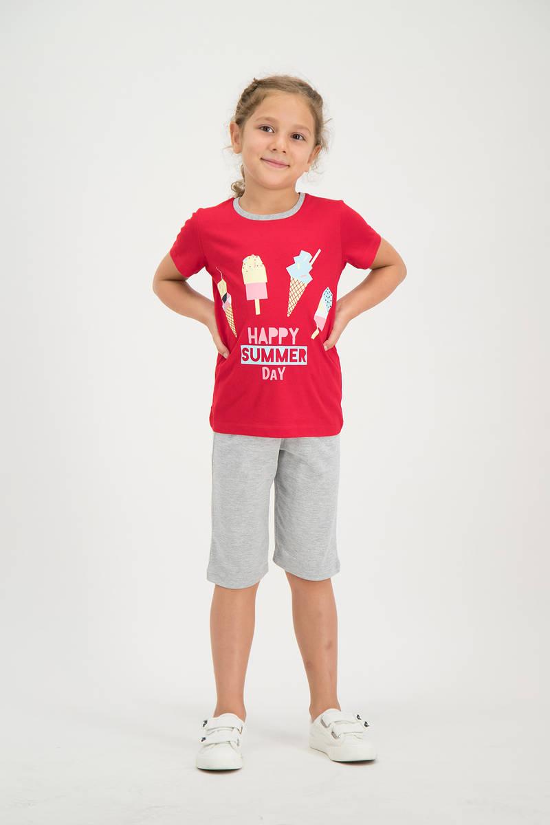 RolyPoly - RolyPoly Kız Çocuk kapri Takımı Kırmızı