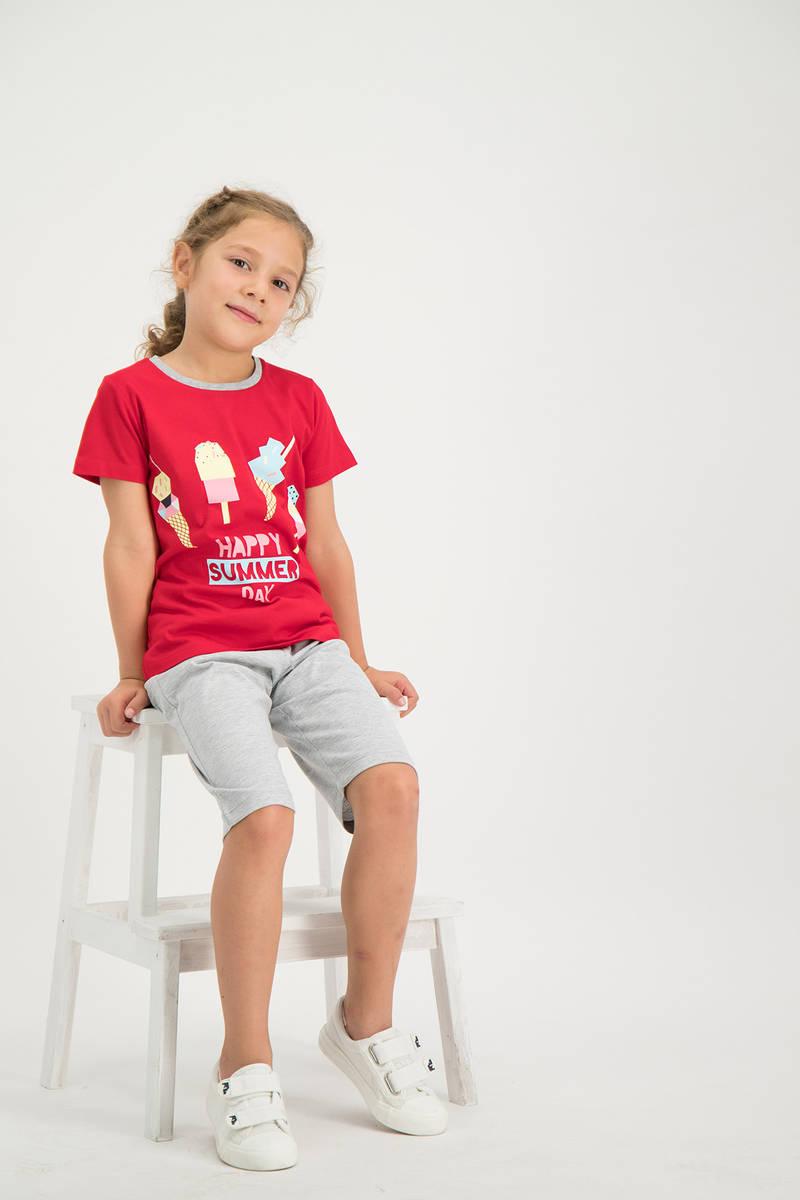 RolyPoly - RolyPoly Kız Çocuk kapri Takımı Kırmızı (1)
