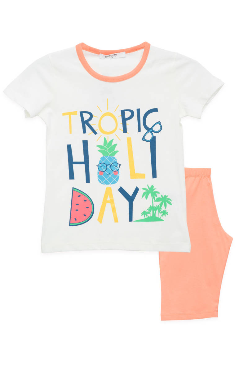 RolyPoly - RolyPoly Tropic Holiday Krem Kız Çocuk Kapri Takım