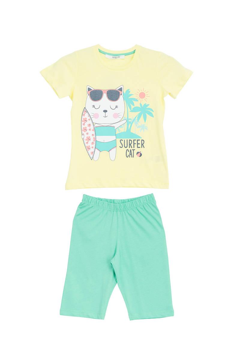 RolyPoly - RolyPoly Kız Çocuk Kapri Takım Limon Sarı