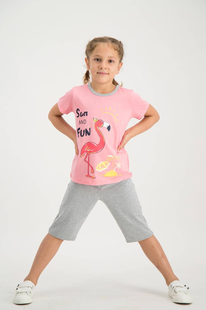 RolyPoly - RolyPoly Kız Çocuk kapri Takımı Pembe