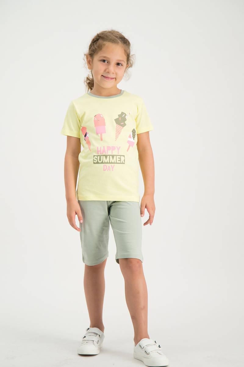 RolyPoly - RolyPoly Kız Çocuk kapri Takımı Sarı