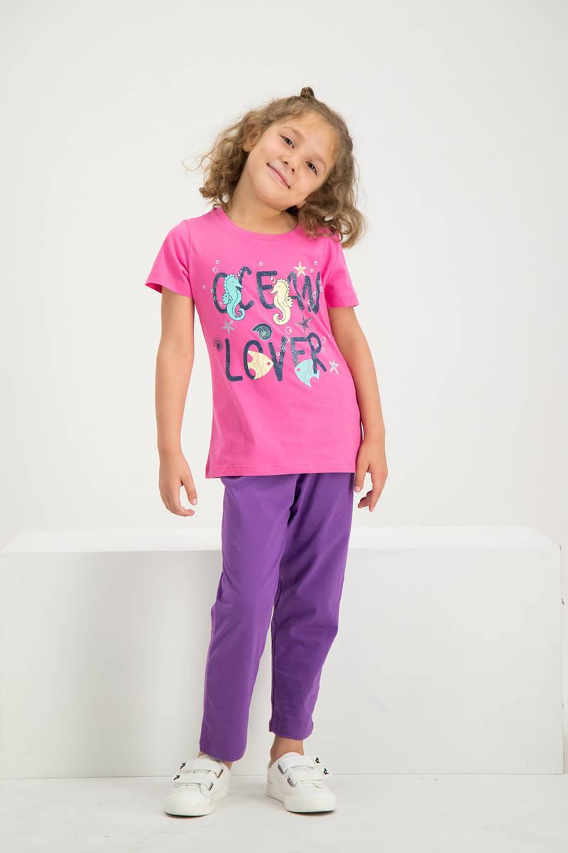 RolyPoly - RolyPoly Kız Çocuk Kısa Kollu Pijama Takımı Fuşya