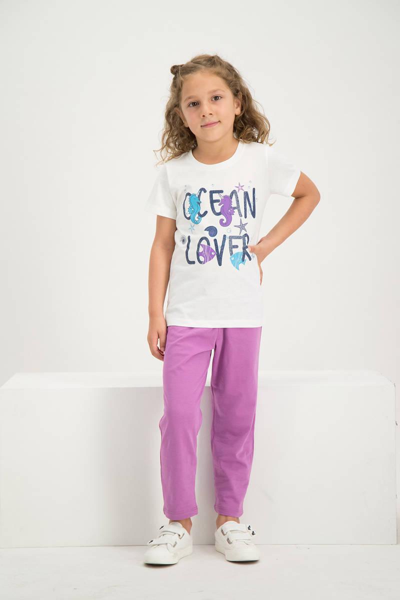 RolyPoly - RolyPoly Kız Çocuk Kısa Kollu Pijama Takımı Krem