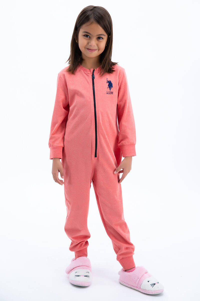 U.S. Polo Assn - U.S: Polo Assn Basic Kırmızımelanj Kız Çocuk Tulumu
