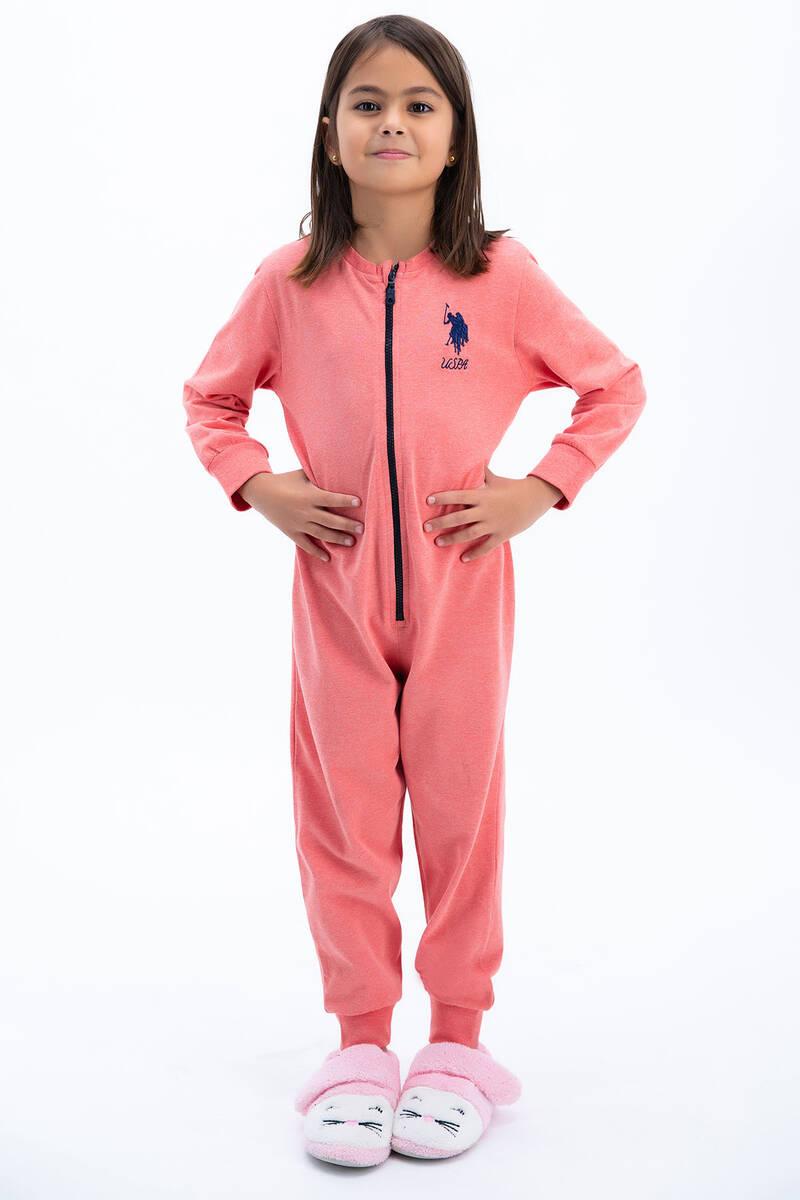 U.S. Polo Assn - U.S: Polo Assn Basic Kırmızımelanj Kız Çocuk Tulumu (1)