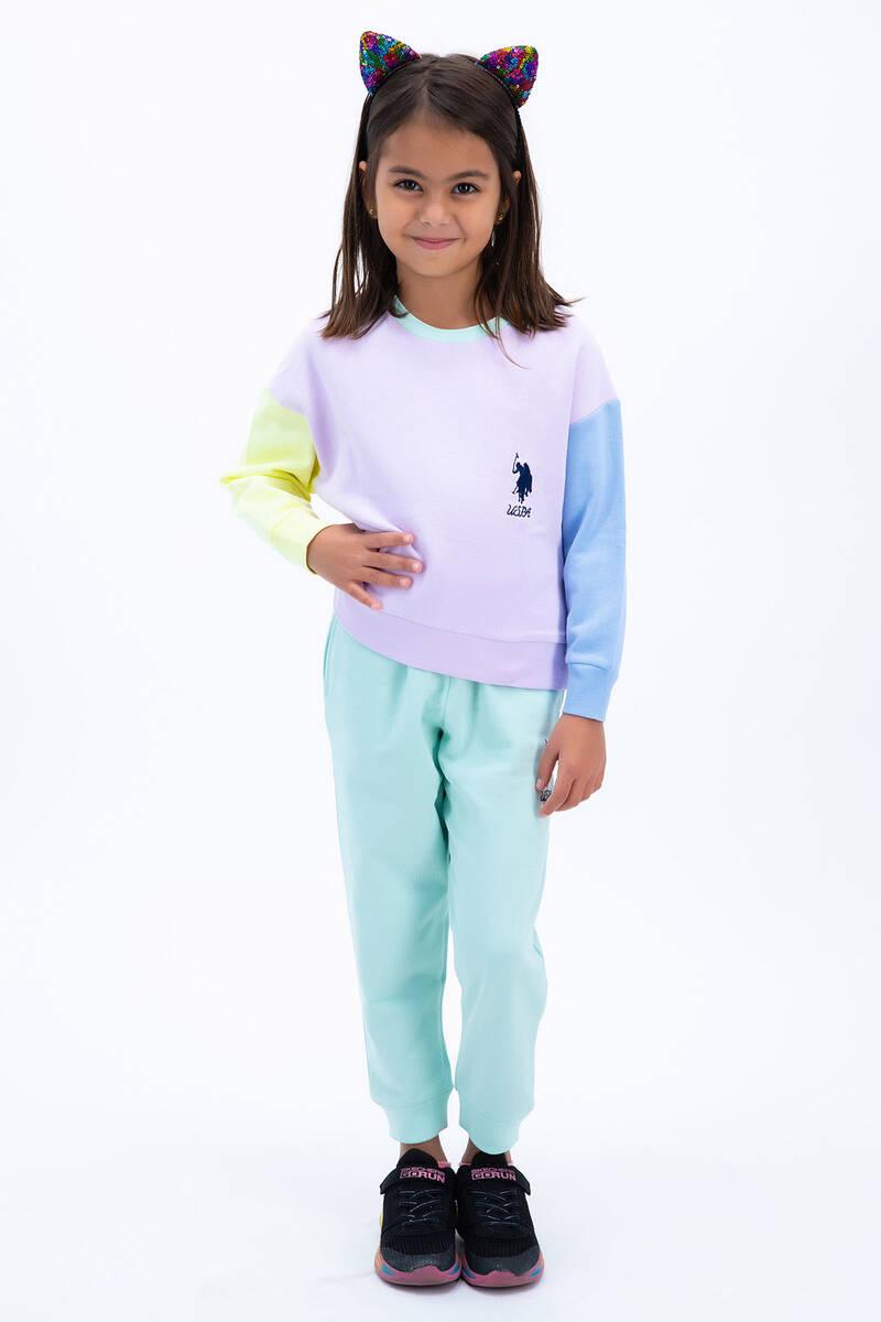 U.S. Polo Assn - U.S. Polo Assn Açık Lila Renkli Bloklu Kız Çocuk Eşofman Takımı