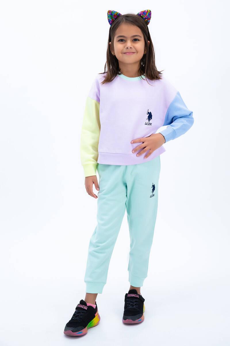 U.S. Polo Assn - U.S. Polo Assn Açık Lila Renkli Bloklu Kız Çocuk Eşofman Takımı (1)